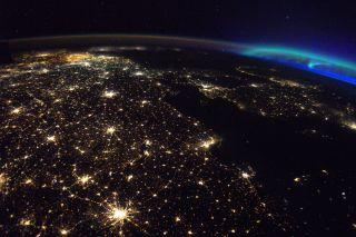 aurora over europe iss