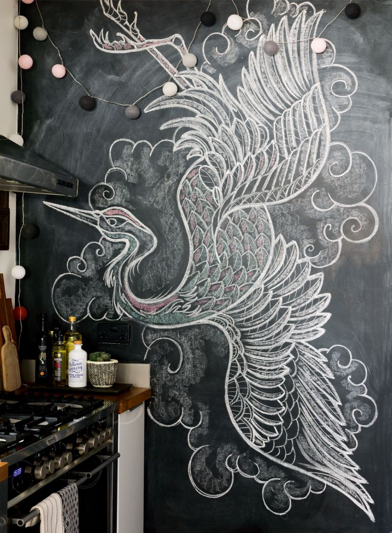 Chalkboard wall in a kitchen