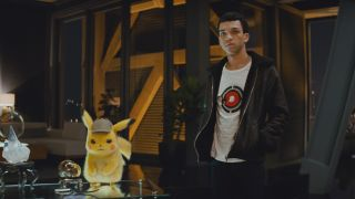 Pikachu and Justice Smith in Detective Pikachu