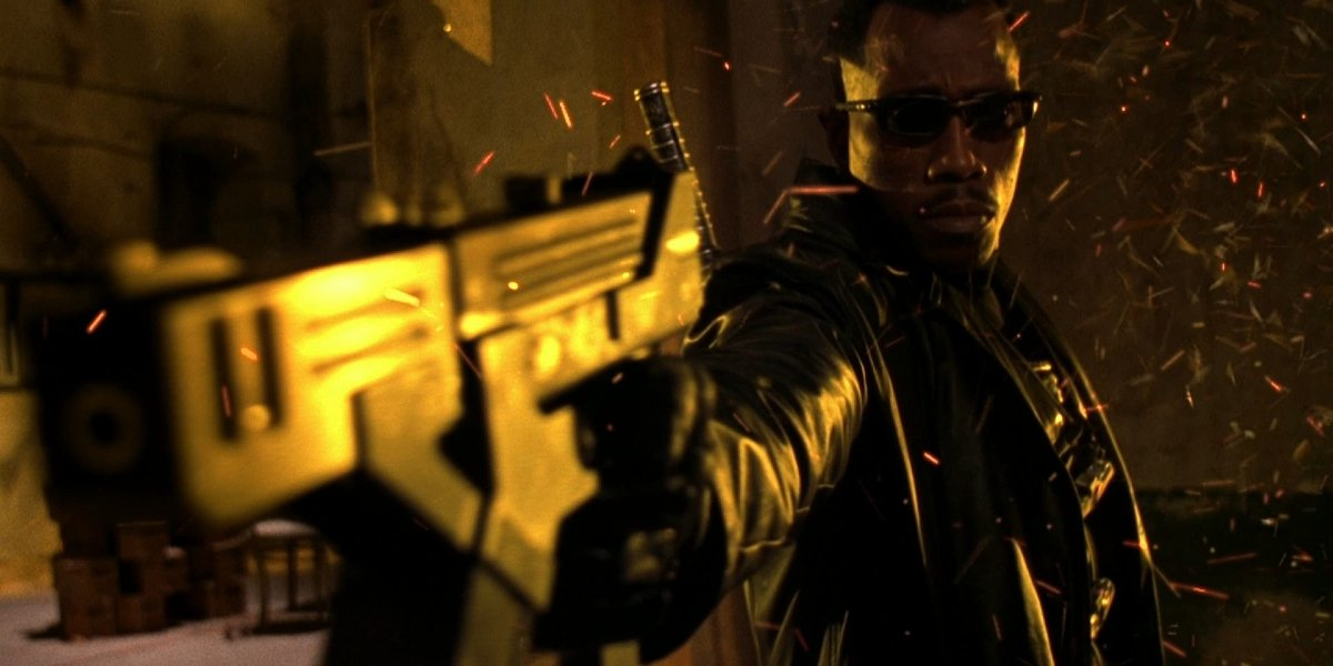 Blade II Wesley Snipes points his gun at the camera