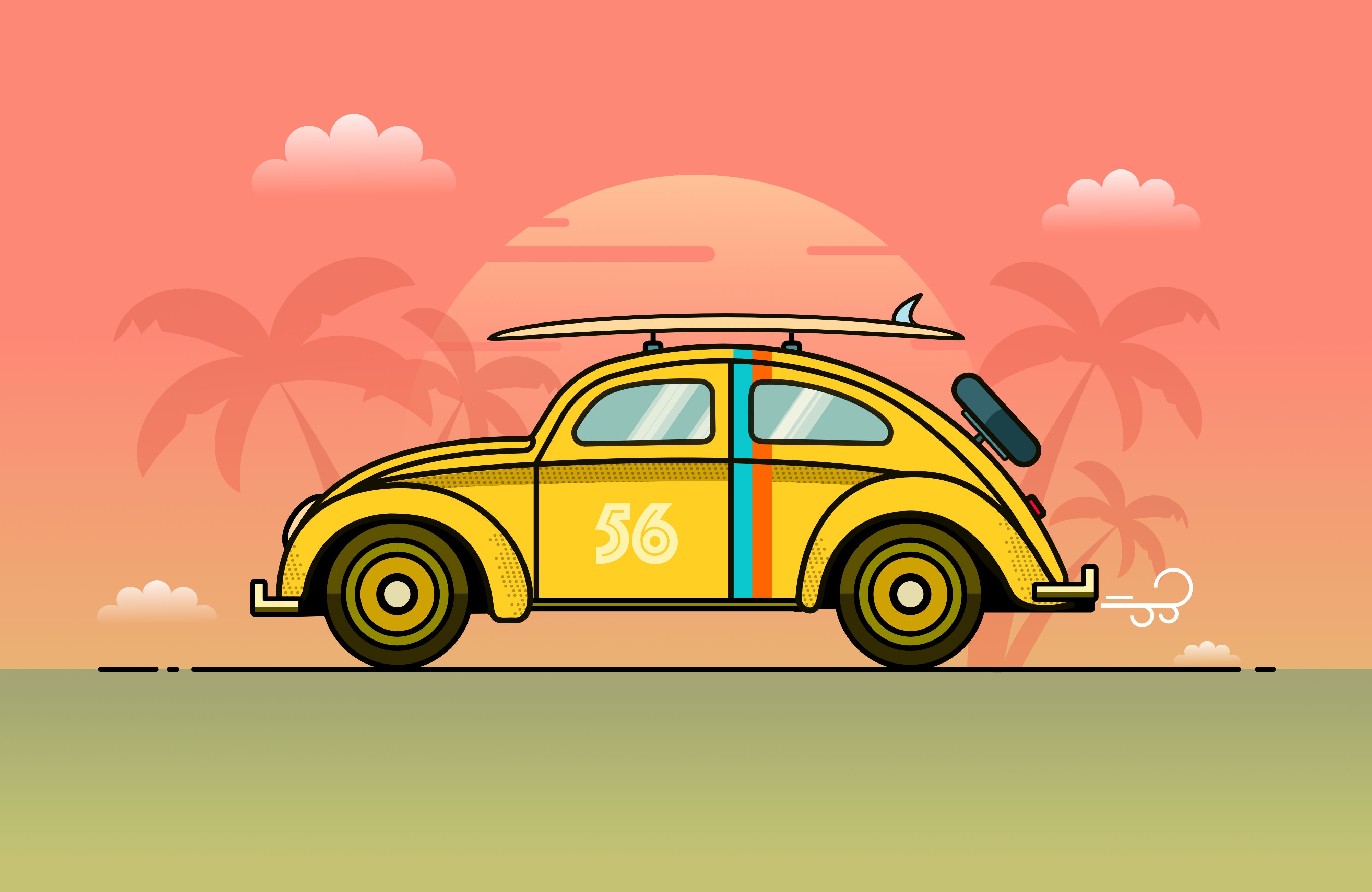 Cartoon of car and palm trees