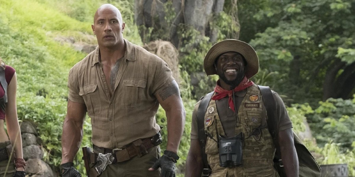 Jumanji Dwayne Johnson and Kevin Hart out in the jungle