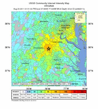 Shake map of 2011 Virginia earthquake.
