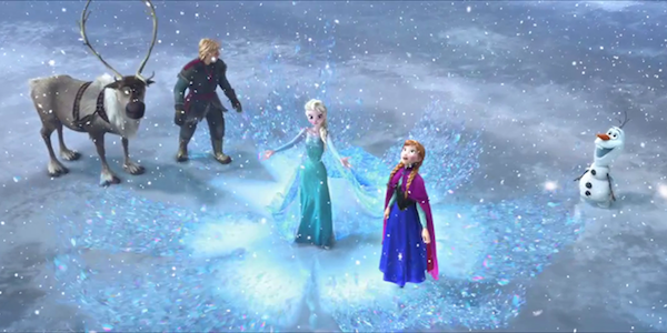 Frozen cast in a snowstorm