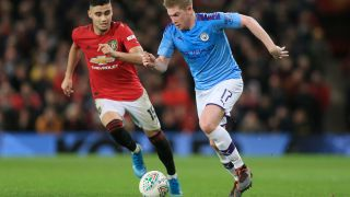 man city vs man united live stream MANCHESTER, ENGLAND - JANUARY 07: Kevin De Bruyne of Man City battles with Andreas Pereira of Man Utd during the Carabao Cup Semi Final match between Manchester United and Manchester City at Old Trafford on January 7, 2020 in Manchester, England.