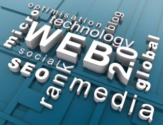 3D word cloud with Web 2.0 related words including Web 2.0, technology, blog and media.