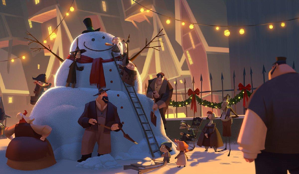 Klaus the townsfolk build a snowman