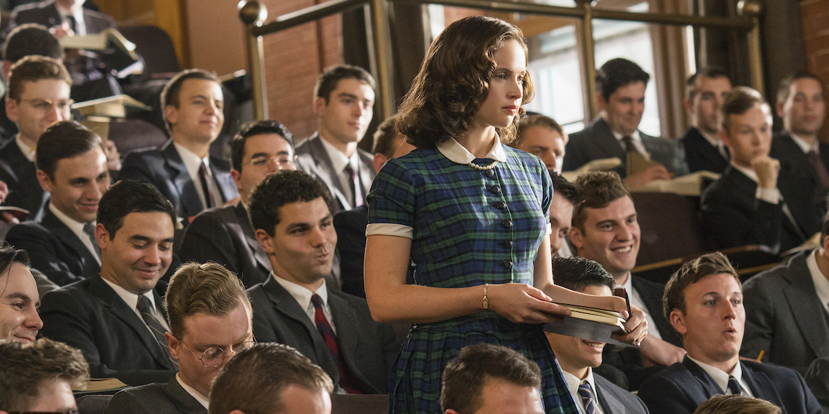 Felicity Jones as Ruth Bader Ginsberg, only woman in a classroom full of men in On the Basis of Sex