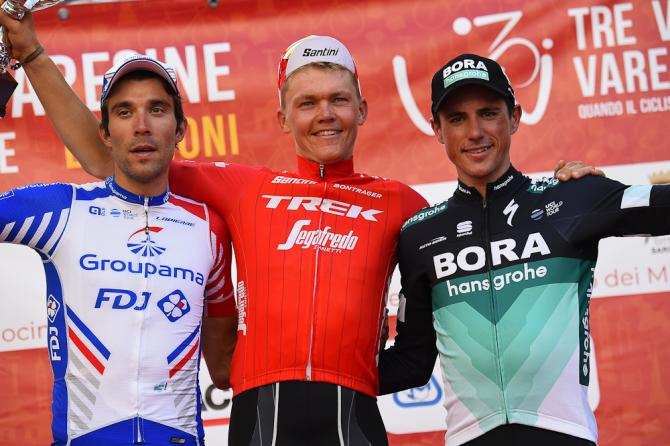 Thibaut Pinot, Toms Skujins and Peter Kennaugh on the Tre Valli Varesine podium