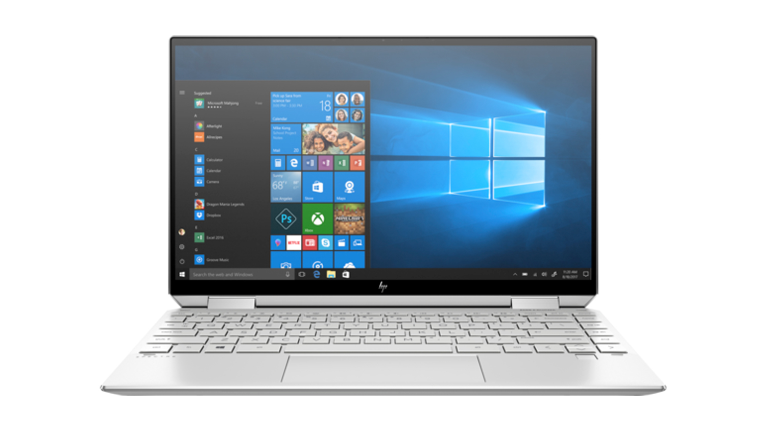 The HP Spectre x360 (2021) from the front against a white background