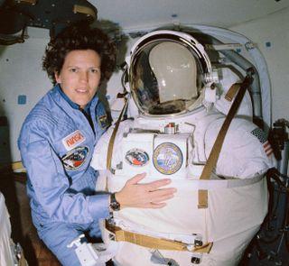 Astronaut Kathryn Sullivan as seen on one of NASA's space shuttles in 1990.