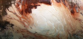 The bright white region of this image, captured by Europe's Mars Express spacecraft in December 2012, shows the icy cap that covers Mars' south pole, composed of frozen water and frozen carbon dioxide.