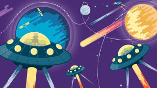 A flat illustration of spaceships, planets, satellites and comets, indicating the new frontier of CSS animation.