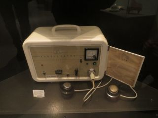 This electroconvulsive therapy machine was used at a mental hospital in Norway in the 1970s and 1980s. Shown here, at an exhibit at the Technical Museum of Norway, Oslo.