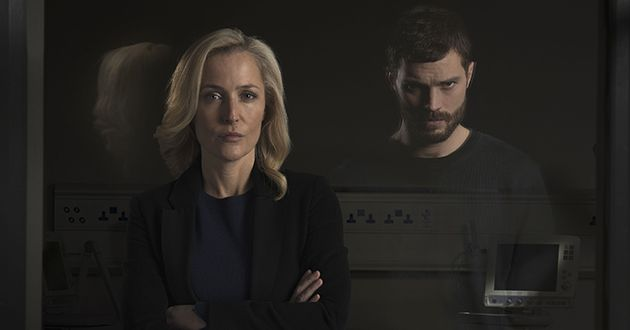 Programme Name: The Fall - TX: n/a - Episode: n/a (No. n/a) - Picture Shows: ICONIC  DSI Stella Gibson (GILLIAN ANDERSON), Paul Spector (JAMIE DORNAN)  - (C) The Fall 3 Ltd - Photographer: Des Willie