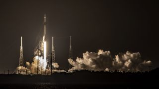 A SpaceX Falcon 9 rocket launches 60 Starlink satellites from Cape Canaveral Space Force Station in Florida on Nov. 24, 2020.