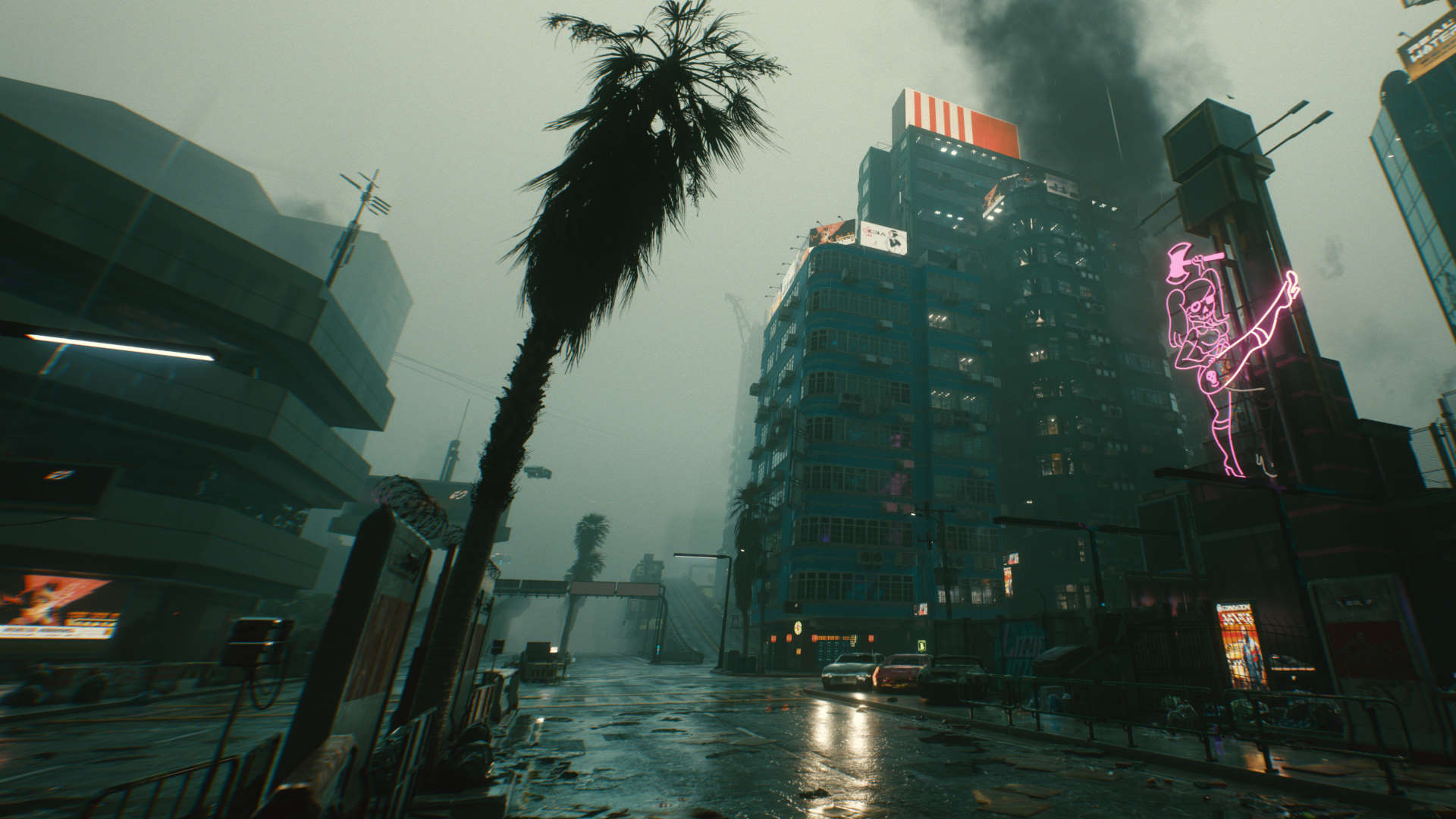 This Cyberpunk 2077 mod makes Night City's weather appropriately crap