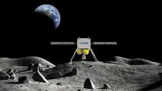 This illustration shows a concept moon lander by Tyvak Nano-Satellite Systems, Inc.