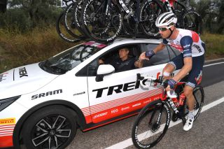 CAMIGLIATELLO SILANO ITALY OCTOBER 07 Adriano Baffi of Italy Sports Director Team Trek-Segafredo and Pieter Weening of The Netherlands and Team Trek Segafredo Feed Zone Car during the 103rd Giro dItalia 2020 Stage 5 a 225km stage from Mileto to Camigliatello Silano 1275m girodiitalia Giro on October 07 2020 in Camigliatello Silano Italy Photo by Tim de WaeleGetty Images
