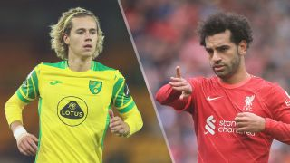 Norwich City vs Liverpool live stream in the Premier League 2021-2022 — Todd Cantwell of Norwich and Mohamed Salah of Liverpool