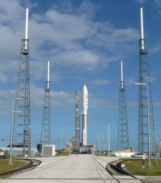 The Curiosity rover, nestled atop its Atlas 5 rocket, was rolled out to its launchpad at Florida's Cape Canaveral Air Force Station on Nov. 25, 2011, to prepare for its blastoff on Nov. 26.