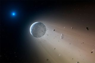 Artist's impression of white dwarf shredding planet
