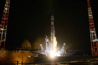 A Russian Soyuz 2.1v rocket launches a classified military satellite into orbit from the Plesetsk Cosmodrome in northern Russian on Nov. 25, 2019. The satellite can apparently track other satellites in orbit and is shadowing a U.S. spy satellite, officials say.