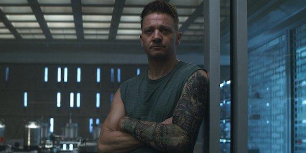 Avengers: Endgame Hawkeye watching someone speaking at base
