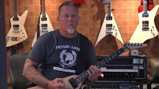 A picture of James Hetfield in the studio