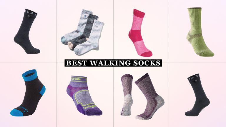 a collage of w&h's best walking socks picks on a pink background
