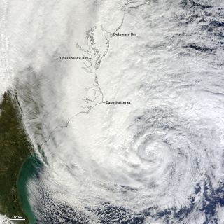 NASA's Terra satellite captured this image of Hurricane Sandy at 12 PM Eastern on Oct. 28, 2012.