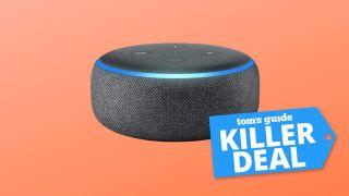 Amazon Echo Dot (3rd gen) on a peach background