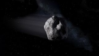 An artist's depiction of a near-Earth asteroid.