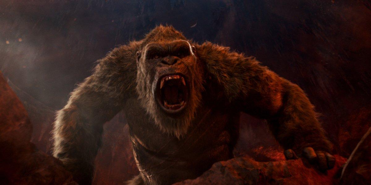 Kong roars in a cave in Godzilla vs. Kong.