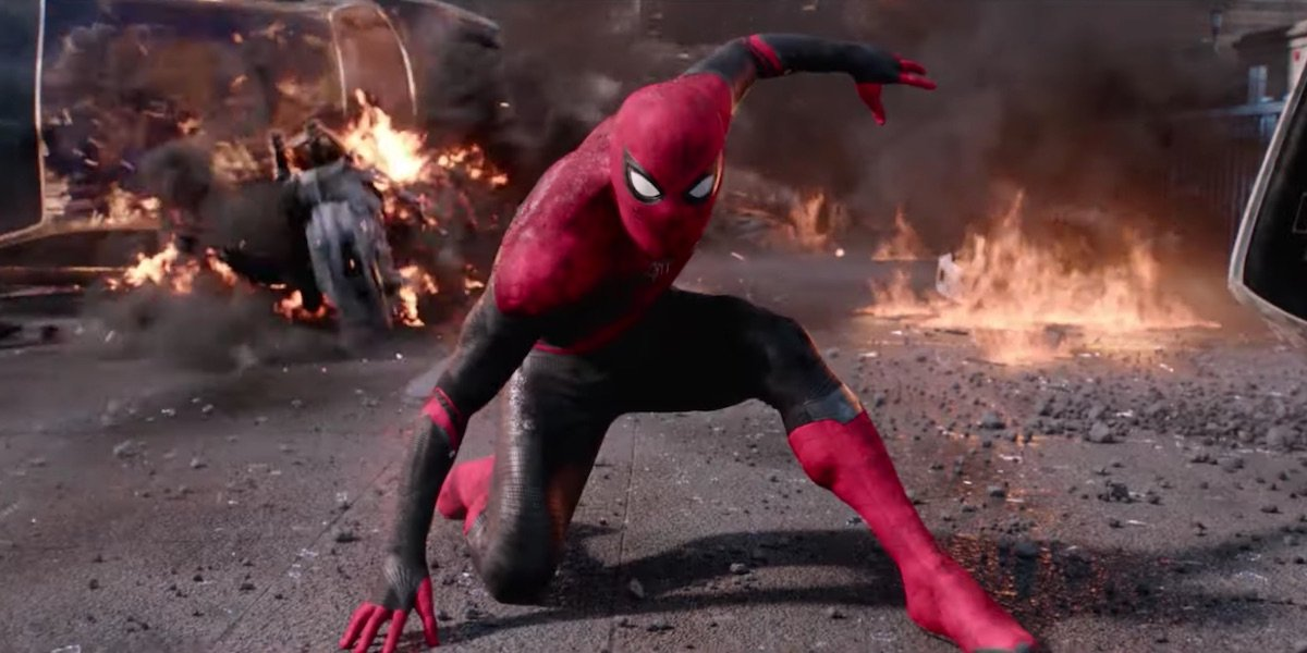 Spider-Man in action during Far From Home