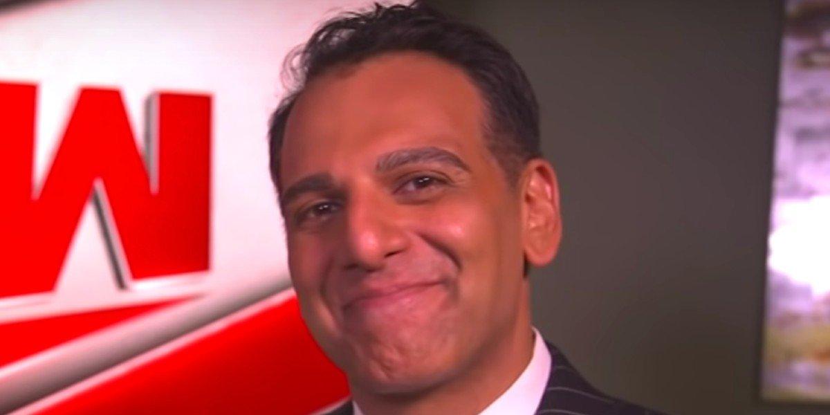 Adnan Virk smiling Monday Night Raw WWE