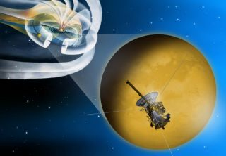 Artist's concept of the Feb. 18, 2011, flyby of Saturn's moon Titan by NASA's Cassini spacecraft.