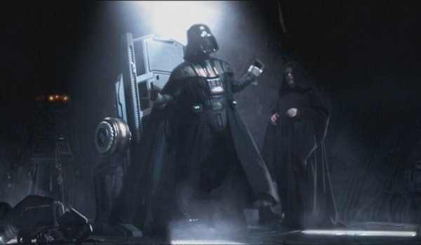 Star Wars Revenge Of The Sith Vader breaks his shackles to scream next to the Emperor
