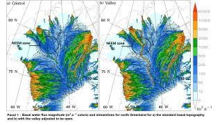a map showing where a giant subglacial river may thread beneath Greenland's ice