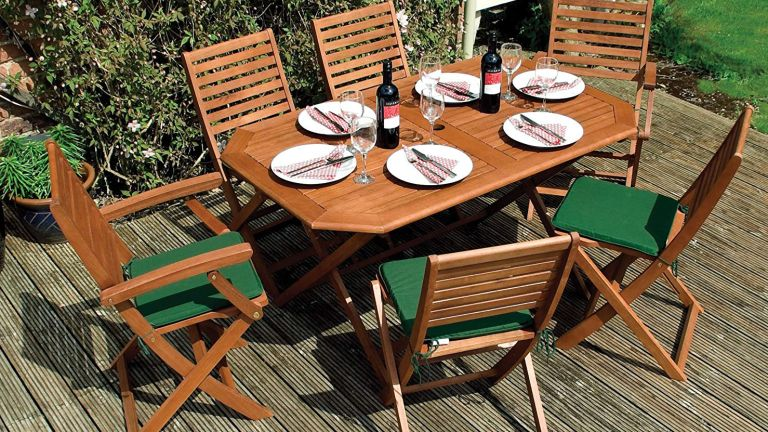 best wooden garden furniture: Plumley 6 Seater Dining Set with Cushions