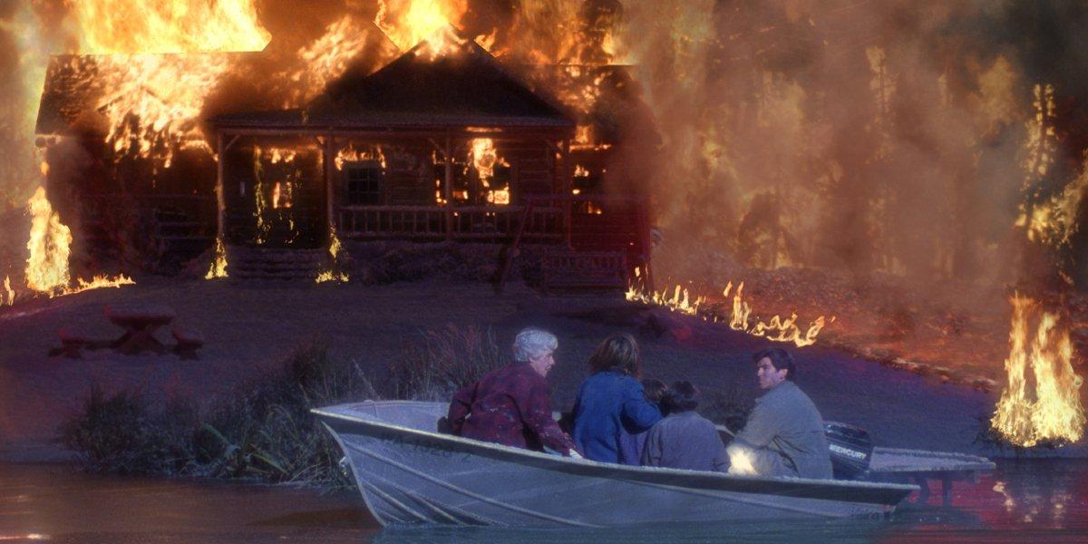 Elizabeth Hoffman, Linda Hamilton, and Pierce Brosnan in Dante's Peak
