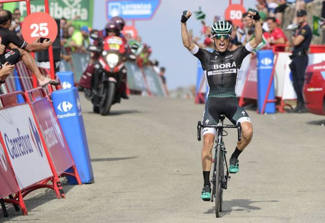 Rafal Majka celebrates his stage 14 win at the Vuelta a España.