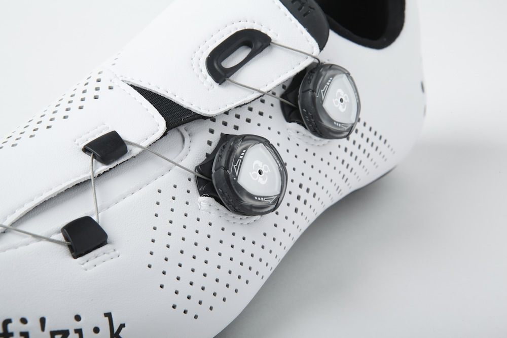 A close up of the Boa Dials and perforations. The lower dial is useful for