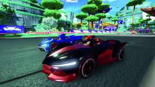An image of Shadow and Sonic from Team Sonic Racing