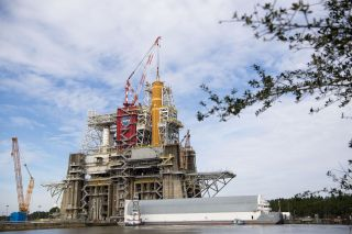 The first SLS core stage on the test stand at Stennis Space Center in Mississippi in January 2020.