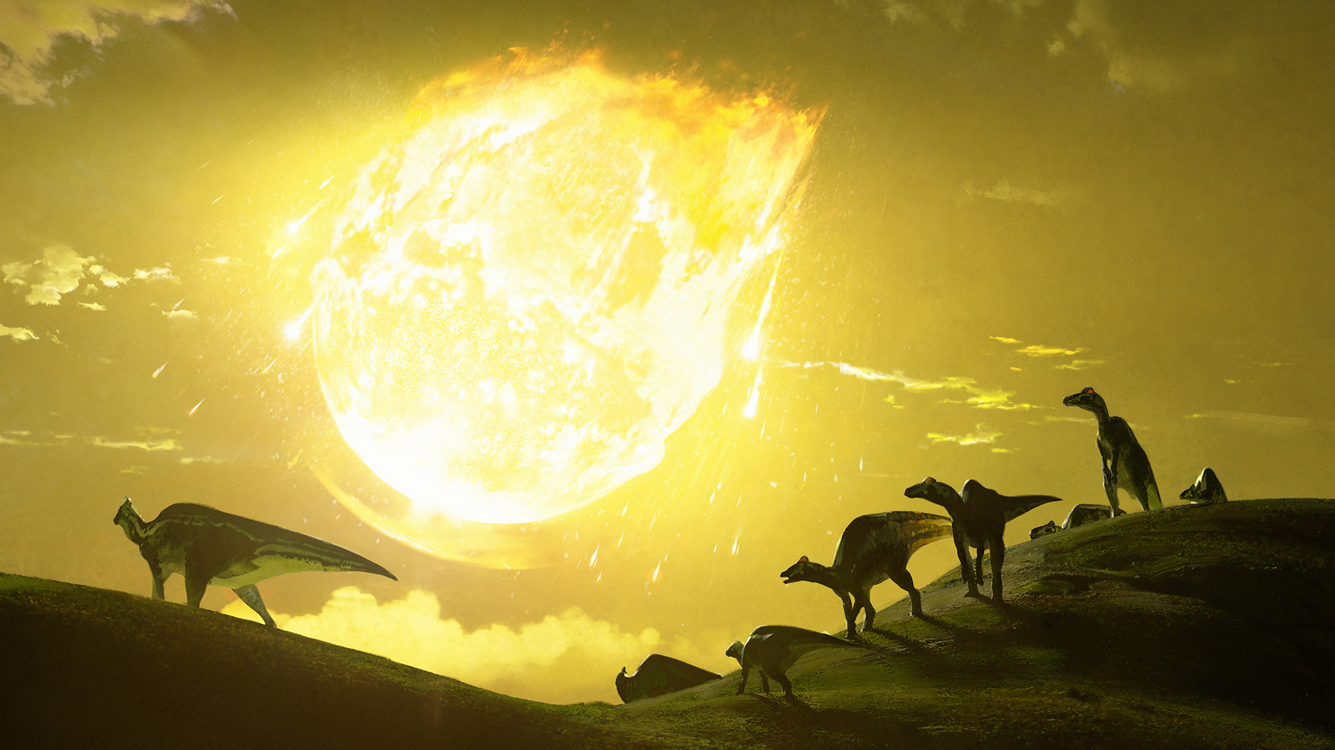 Original artwork depicting the moment the asteroid struck 66 million years ago, in what is now Mexico.