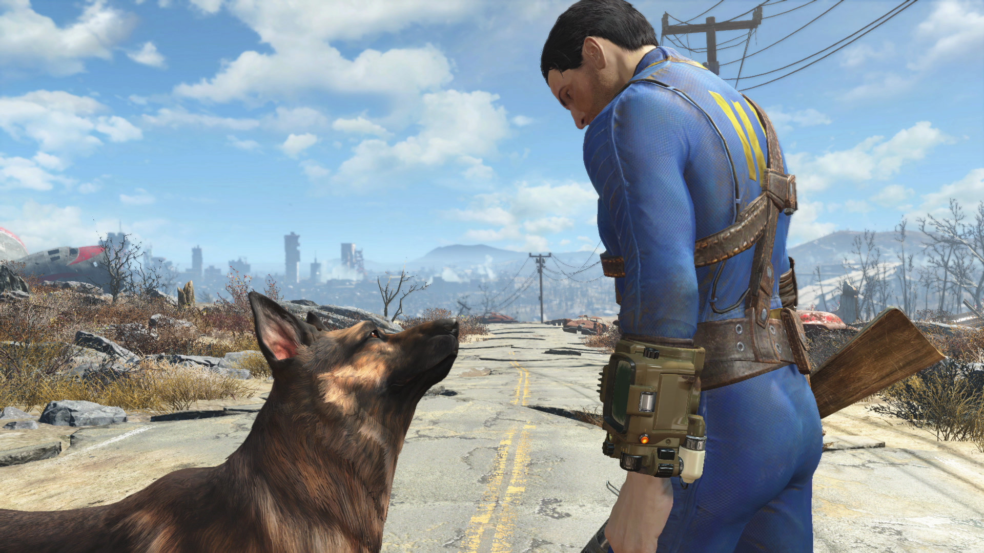 Dogmeat and the Sole Survivor from Fallout 4.