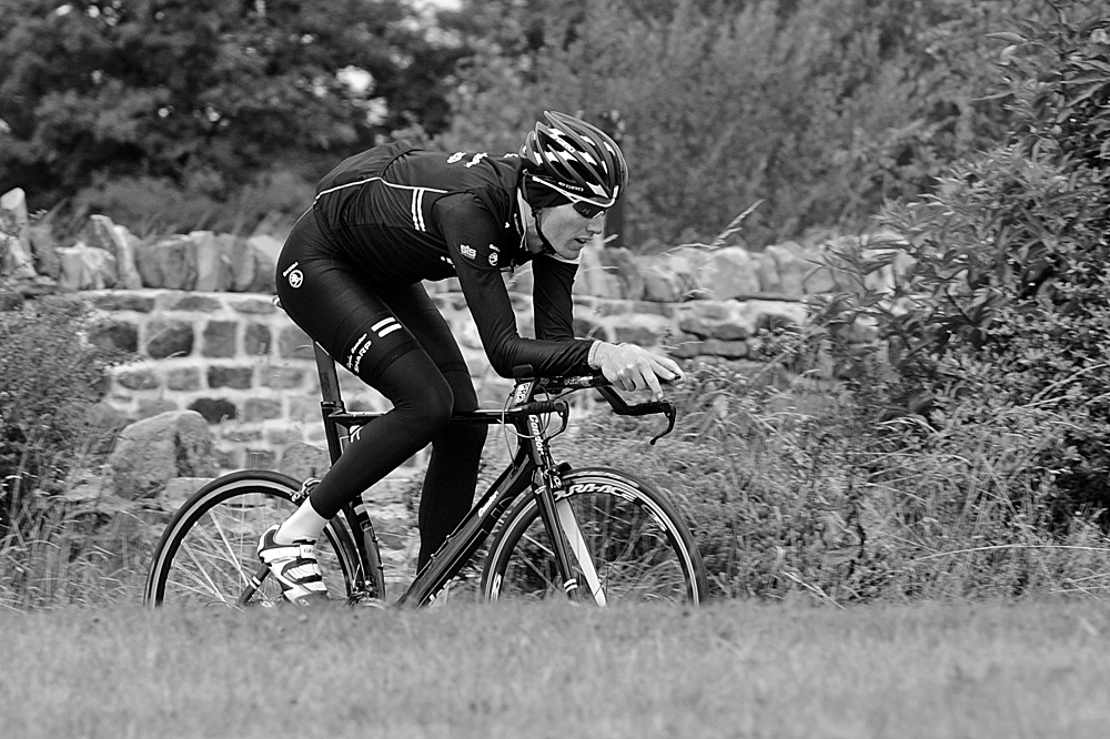 Zak Dempster on time trial bike, Rapha Condor Sharp training in Peak District, August 2011