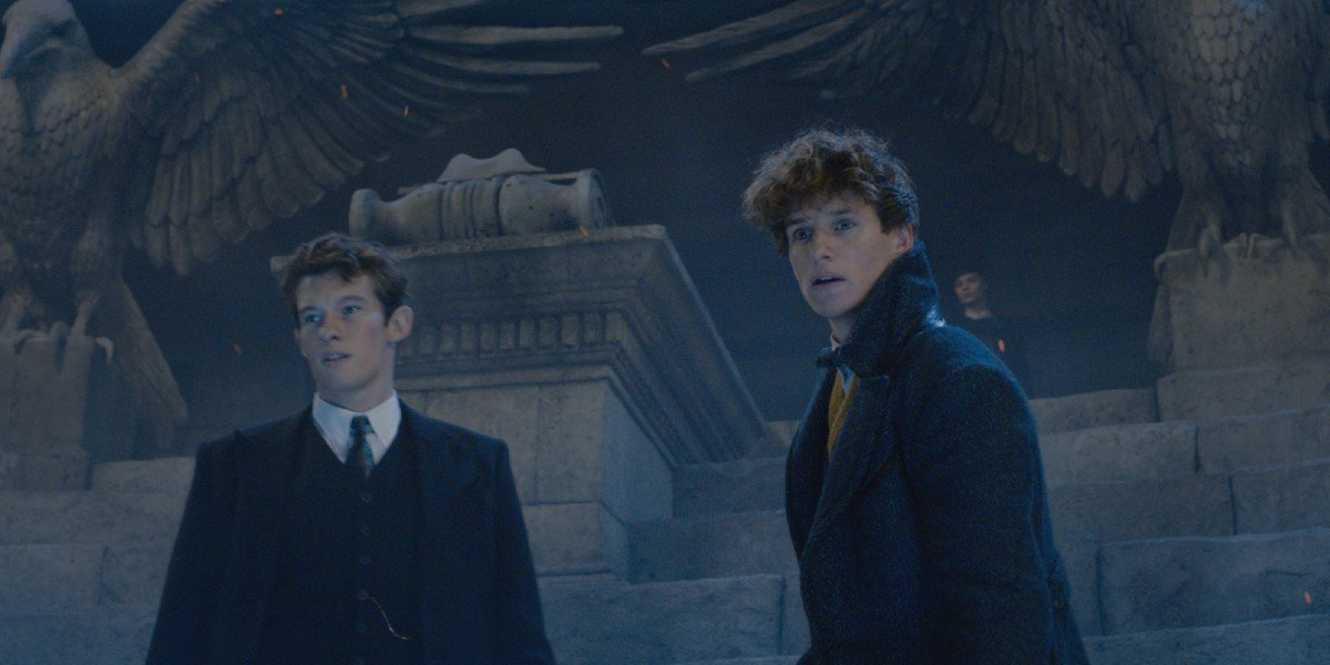 Callum Turner and Eddie Redmayne in Fantastic Beast: The Crimes of Grindlewald