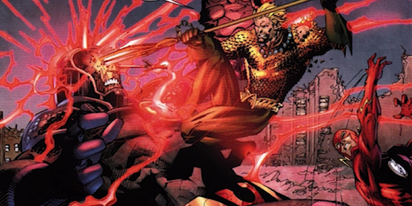 Aquaman uses the Trident of Neptun to take down Darkseid